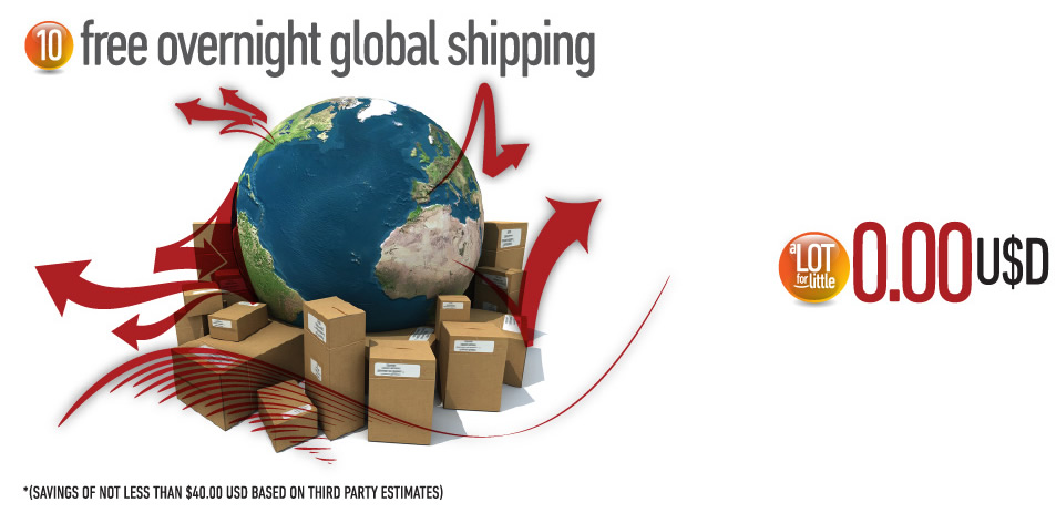 Free overnight global shipping